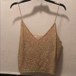 fca16f356a8400 BHLDN Tops - BHLDN Allegro Gold Sequin Camisole